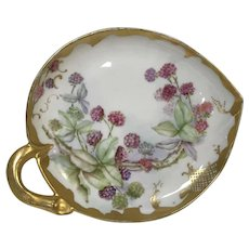 Limoges Porcelain Leaf Shaped Vanity Tray With Gold Rim and Hand Painted Berry Decoration
