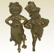 Gilt Bronze French Miniature Figurine of Dancing Couple Dancing Munchkins