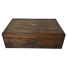 Antique Walnut 19th Century Captain Writing Desk Box