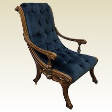 American Victorian Eastlake Walnut Sleigh Arm Chair w Gilt Trim & Blue Velvet