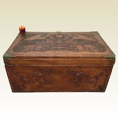 Antique Chinese Camphor Wood Chest Carved Dragon Phoenix Bird