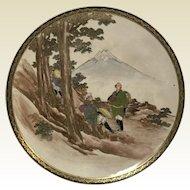 Japanese Meiji Satsuma Porcelain Plate W/  Mount Fuji & Character Scene Signed