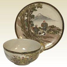 Japanese Meiji Satsuma Tea Cup & Saucer Mount Fuji & Character Scene Sign