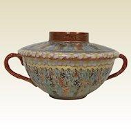 Fine Japanese Porcelain Kuttani Bouillon Tea Cup & Lid 1000 Face Decoration signed
