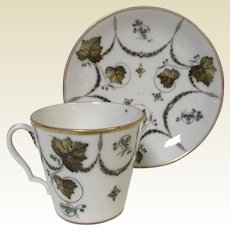 Antique 19th Century Popov Moscow Russian Porcelain Manufacturer Demitasses Cup & Saucer