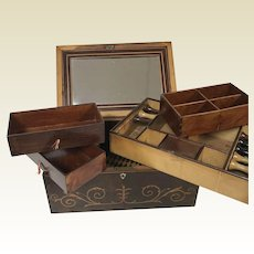 Outstanding 19th C Rosewood Inlaid Sewing Valuables Box
