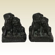 Pair of Heavy Antique Bookends Cast Iron 2 Pups Dog Orphan Dogs Hubley
