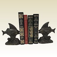 Rare Pair of Cast Iron Open-mouthed Fish Bookends 1930's