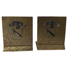 1920 Silvercrest / Heintz Silver on Bronze Arts & Craft Knight Shield Bookends