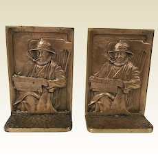 Solid Hammered Bronze Cape Cod Fisherman Bookends Smoking Pipe Reading Newspaper