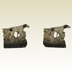 Cast Iron Pointers Hunting Hound Dog Original Polychrome Paint Bookends
