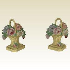 Pair Antique Cast Iron Flower Basket Doorstops Bookends