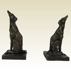 Pair of Antique Large Howling Dog Bronze Bookend