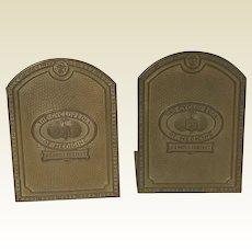 1915 Pressed Bronze Cyclopedia Medicine Bookends