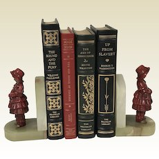 Art Deco Pair of Metal & Onyx Cold Painted Standing Girl Bookends