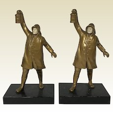 Pair of Large Cast Metal Watchman Fireman Bookends Cold Painted Circa 1920's