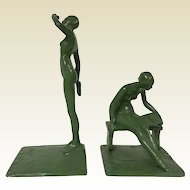 Pair of Thew Cast Iron Art Deco Nude Reading Book Bookends.