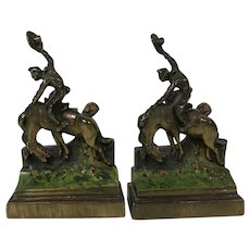 Pair of Paul Herzel Gilded Bronze Bookends Bucking Bronco Cowboy