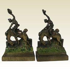 Pair of Paul Herzel Gilded Bronze Bookends Bucking Bronco Cowboy