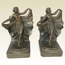 Antique Bronze Patina'd Spelter Loie Fuller Dancing Girl Bookends
