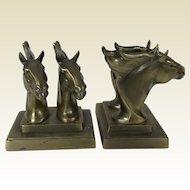 Pair of Frankart Brass Running Horses Bookends