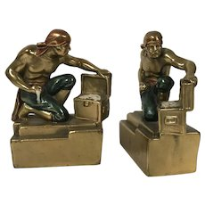Rare Paul Herzel Pirate With Treasure Chest Bookends Pompeian Bronze Co.