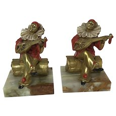Rare 1925 Pierrot Plays Minstrel Clown Cast Metal Gilded Bookends Deco