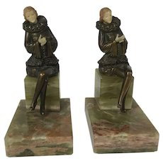 Antique Jb Hirsch Victorian Art Nouveau French Lady Dress Statue Onyx Base Bookend