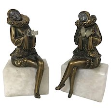 Antique Jb Hirsch Victorian Art Nouveau French Lady Statue Marble Base Bookends