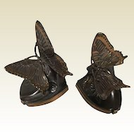 Quality Cast Metal Bronze Finish Art Deco Butterfly Bookends