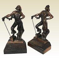 Paul Herzel Pompeian Bronze Pirate W/ Treasure Chest Bookends