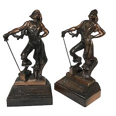 Paul Herzel Pompeian Bronze Pirate W/ Treasure Chest Bookends