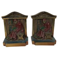 L V Aronson Monks Reading Book in Library Painted Bookends Ca 1920