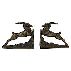 Heavy Art Deco Brass Metal Bookends Gazelle