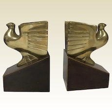 Art Deco Brass Bird in Flight Bald Eagle Dove Bookends