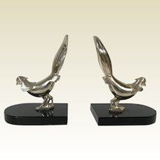 Art Deco Chrome Pheasant Bookends on Onyx Stand