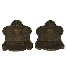 Pair of Antique Bronze Country Motif Fire Place Bean Pot on Fire Bookends