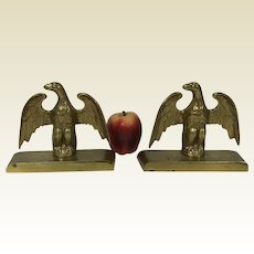Fine Heavy Cast Brass Eagle Bookends