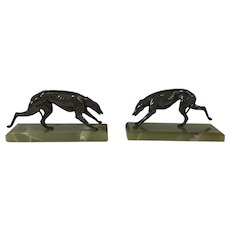 Art Deco Greyhound Bookends Bronze on Marble Base
