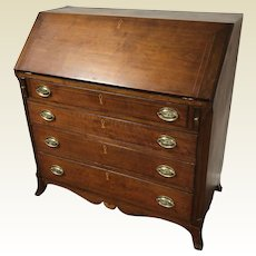 18th C. American Baltimore Walnut Fan Inlaid Slant Front Desk on French Feet