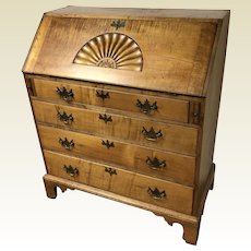 18th C. American Chippendale Tiger Maple Slant Front Desk with Carved Fan
