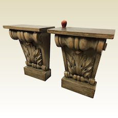 Large Architectural Element Corbel Wall Shelf Side Table Aidan Gray (2 available)