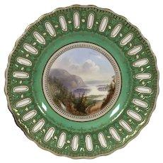 Antique Copeland Spode Lake Killarney Hand Painted Landscape Porcelain Plate