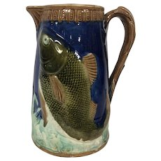 Antique Majolica Cobalt Blue Pitcher with Fish Decoration