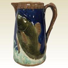 Antique Majolica Cobalt Blue Pitcher with Fish Decoration
