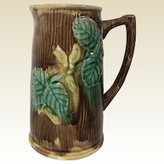 Antique Majolica Pitcher with Leaf Decoration