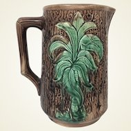 Antique Majolica Pitcher with Palm Tree Decoration