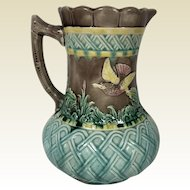 Antique Majolica Pitcher with Lattice Butterfly & Hummingbird Decoration