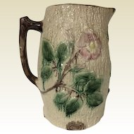 Antique Majolica Apple Blossom Water Pitcher