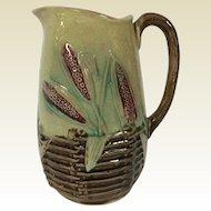19th Century English Majolica Milk Pitcher Wheat Basket Pattern